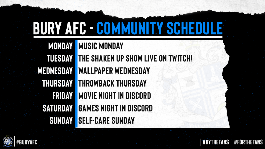 The image states that on Monday, we host Music Monday. On Tuesday, The Shaken Up Show Live on Twitch, On Wednesday, Wallpaper Wednesday, Thursday is Throwback Thursday. Friday and Saturday Night both have a movie and games night whilst Sunday is self-care sunday.